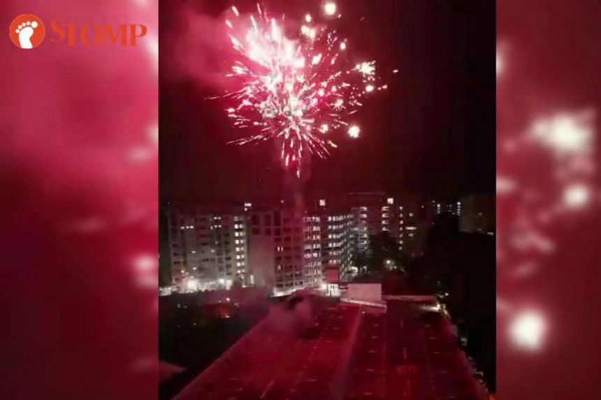 The men had set off the fireworks at the top deck of the carpark at Block 419A, Yishun Avenue 11, at 12.07am on Deepavali on Oct 18.