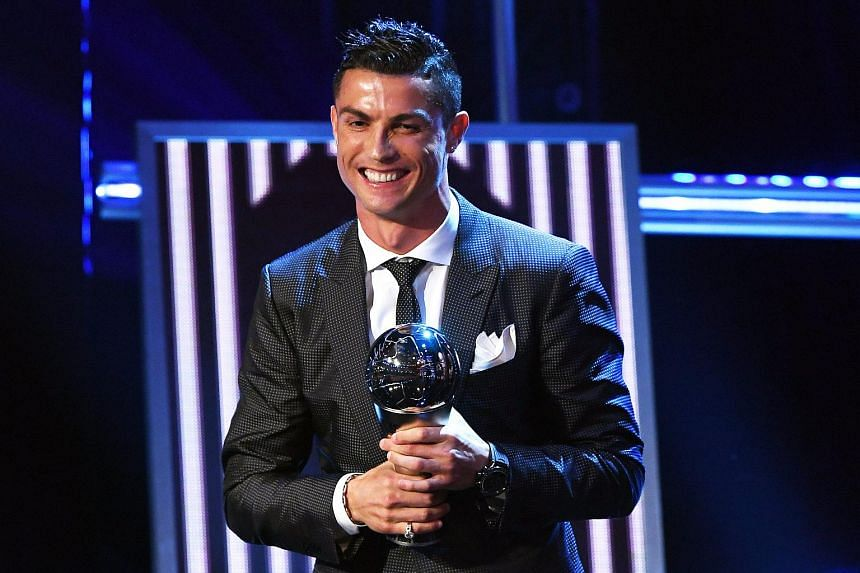 Portugal and Real Madrid forward Cristiano Ronaldo wins The Best Fifa Men's Player Award during the Best Fifa Football Awards 2017 at the London Palladium on Oct 23, 2017.