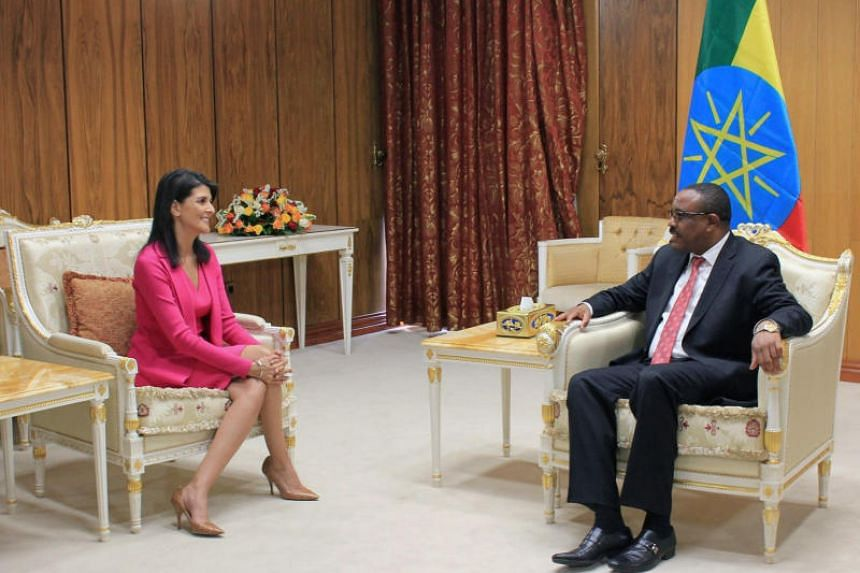 US Ambassador to the United Nations Nikki Haley (left) meets with Ethiopian Prime Minister Hailemariam Desalegn in Addis Ababa, Ethiopia on Oct 23, 2017.