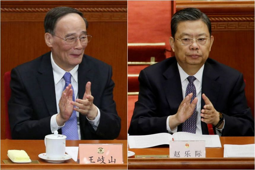 China's anti-corruption czar Wang Qishan (left) will be retiring from the Politburo Standing Committee. He is likely to be succeeded by Zhao Leji (left).