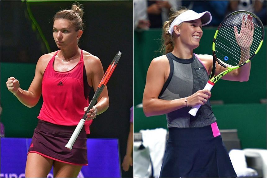 Simona Halep (left) and Caroline Wozniacki (right) defeated Caroline Garcia and Elina Svitolina in the opening games of the BNP Paribas WTA Finals Singapore Red Group.