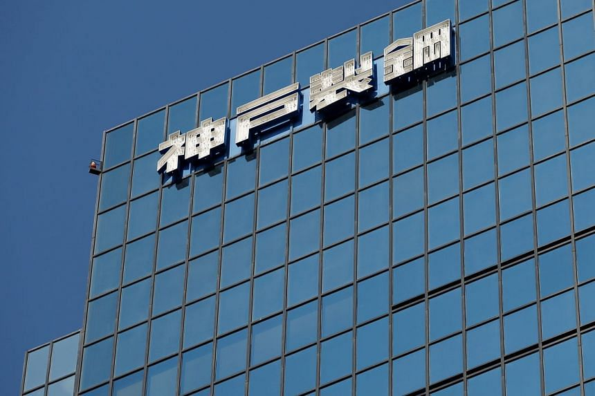 The logo of Kobe Steel is seen on the group's Tokyo headquarter building in Tokyo.