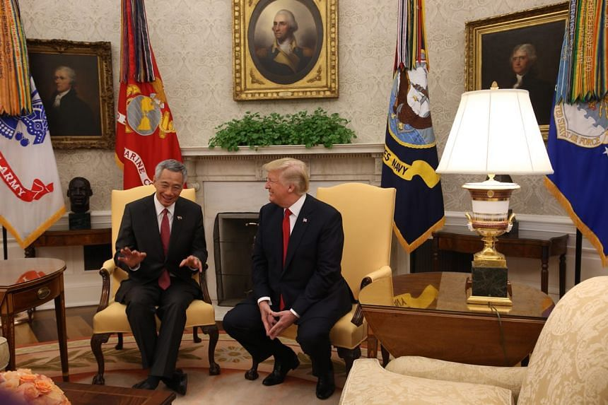 PM Lee meeting US President Trump at the White House, on Oct 23, 2017.