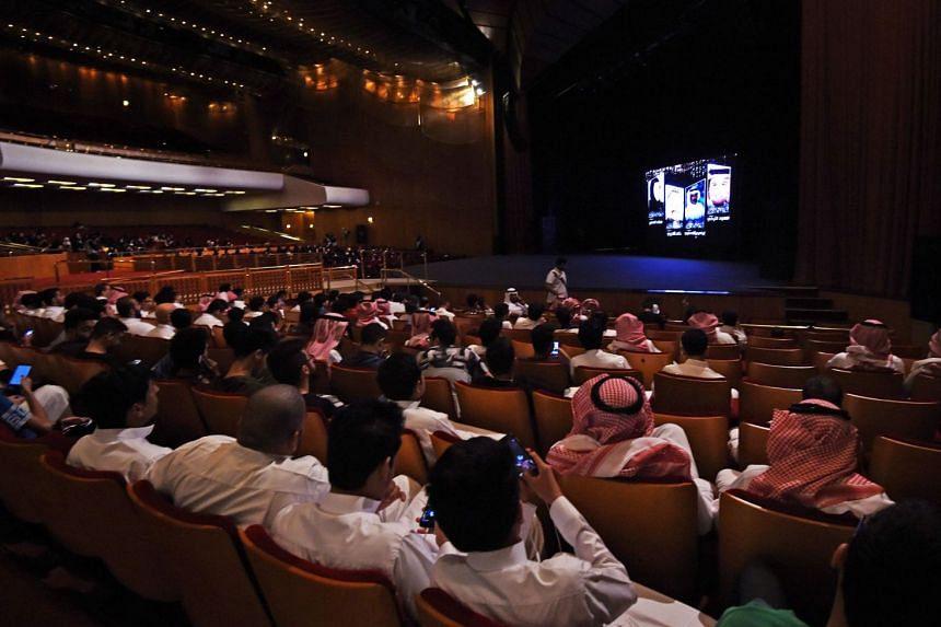 Saudis attending a screening of short films at the King Fahd Cultural Centre in Riyadh.