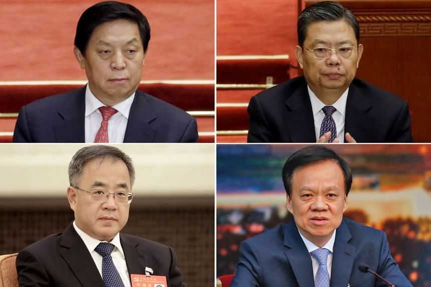 HU CHUNHUA, 54, Guangdong party boss and an ally of former president Hu Jintao. CHEN MIN'ER, 57, Chongqing party boss and Xi protege. ZHAO LEJI, 60, head of the party's organisation department in charge of personnel matters. LI ZHANSHU, 67, head of t