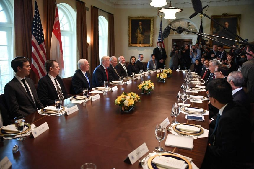 President Trump hosts PM Lee at a working lunch at the White House on Monday (Oct 23).
