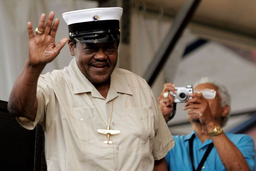 American musician Fats Domino at the New Orleans Jazz and Heritage Festival in 2006.