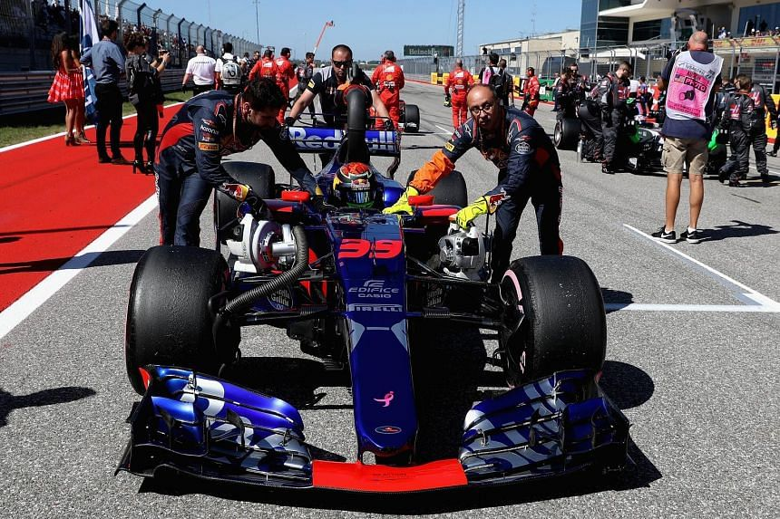 Toro Rosso driver Brendon Hartley of New Zealand is pushed onto the grid for his Grand Prix debut in Austin last Sunday. He finished 13th and will be partnered by Pierre Gasly for the Mexican Grand Prix this weekend.