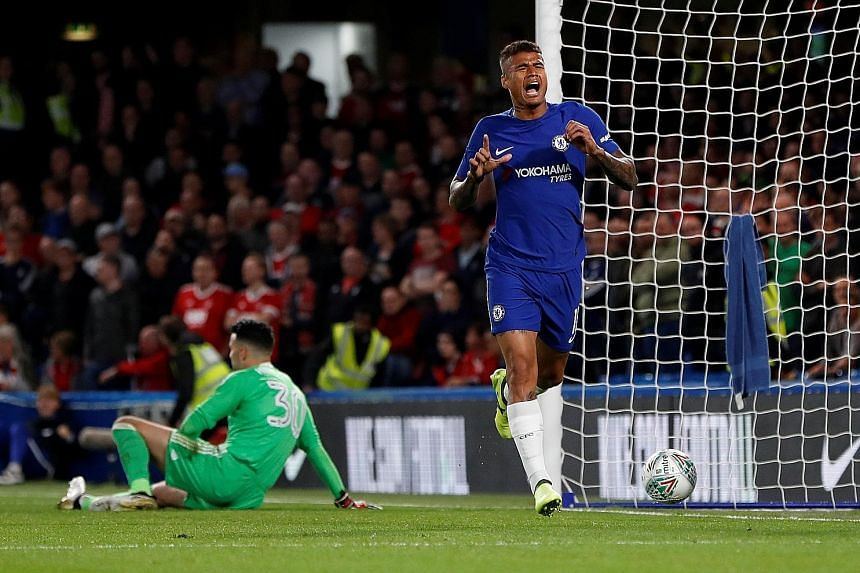 Chelsea's Kenedy celebrating his League Cup goal against Nottingham Forest in the last round. He will be expected to start against Everton at home.