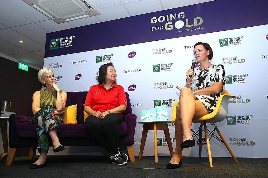 Former world No. 1 Lindsay Davenport (far right) at yesterday's conference for sporting parents. The other two speakers at the event, presented by Tiffany & Co., were May Schooling and Judy Murray, the mothers of Joseph Schooling and Andy Murray.