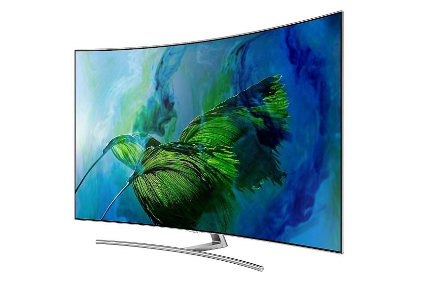 The Q8C's 4K curved panel uses Samsung's Qled, or quantum-dot light-emitting-diode, technology. It uses a thin layer of quantum dots, or nanocrystals, that produce accurate colours when illuminated by a lighting system. Qled offers a higher level of