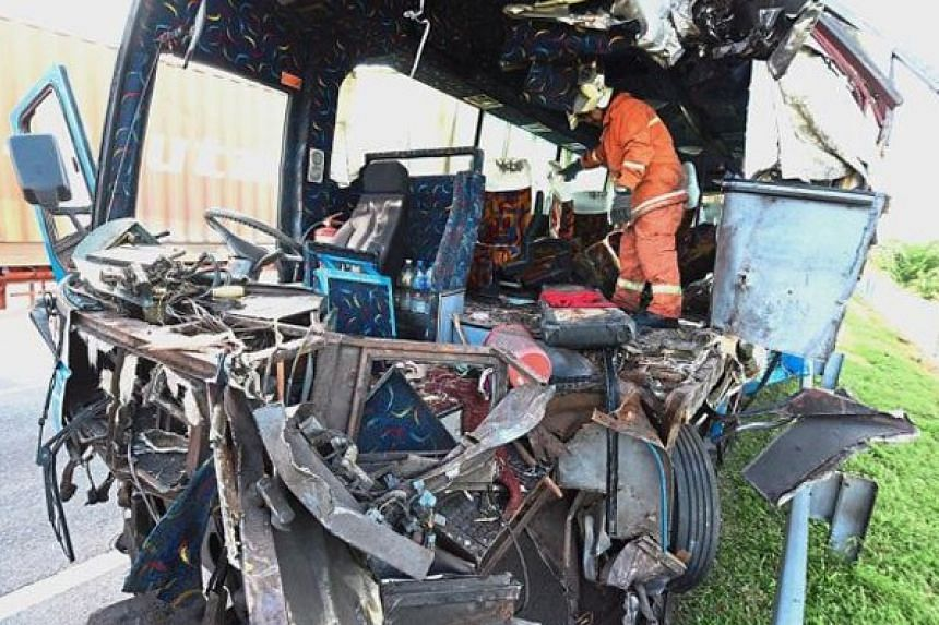 The aftermath of the fatal accident involving two buses in Penang.