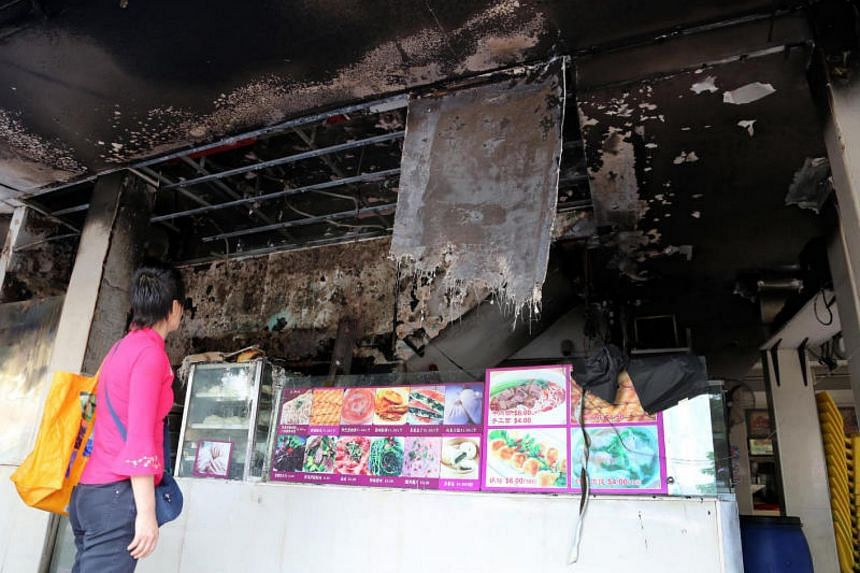 A fire engulfed a coffee shop in Geylang early on Oct 25, forcing occupants of the building to evacuate.