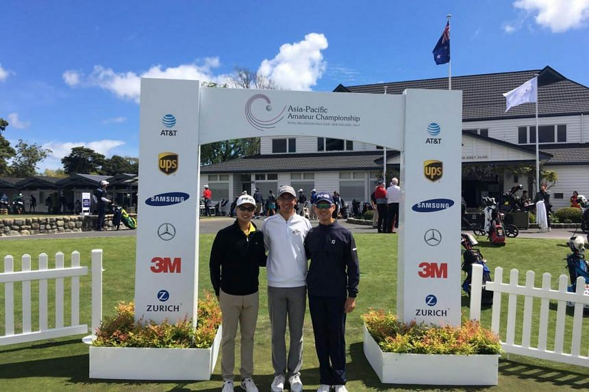 (From left) Gregory Foo, Jesse Yap and Joshua Ho are three of six golfers representing Singapore at the Asia-Pacific Amateur Championship in New Zealand.
