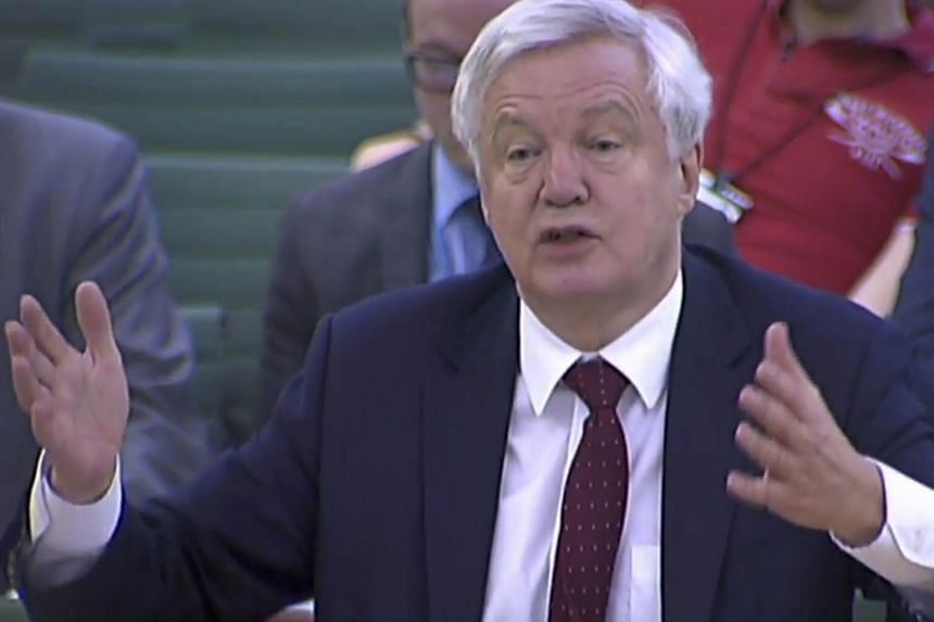 Britain's Secretary of State for Exiting the European Union (Brexit Minister) David Davis giving evidence to the Exiting the European Union Committee of members of parliament at the Houses of Parliament in London on Oct 25, 2017.