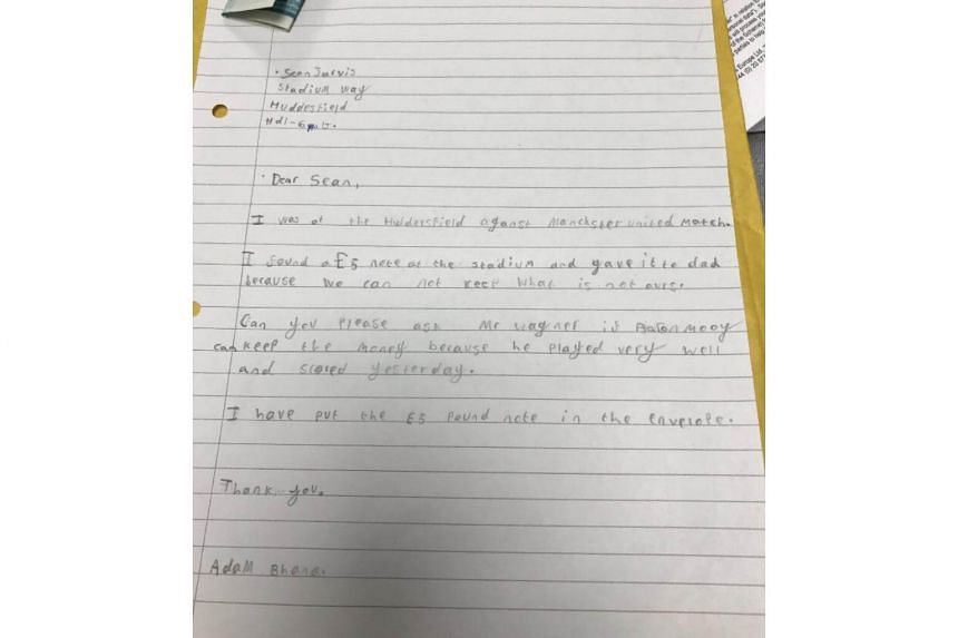 Club director Sean Jarvis tweeted a picture of the handwritten letter from Terriers supporter Adam Bhana where he requests that the money be given to Mooy for his display against United.