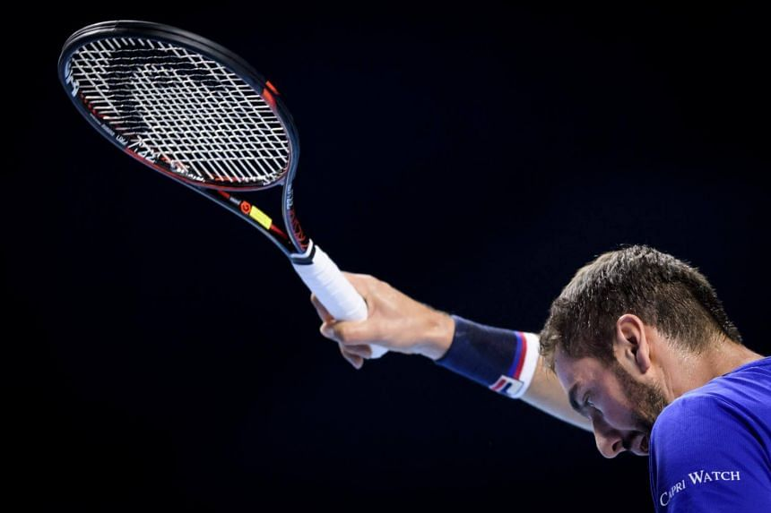 Croatian Marin Cilic at his match against German Florian Mayer at the Swiss Indoors ATP 500 tennis tournament on Oct 24, 2017 in Basel.