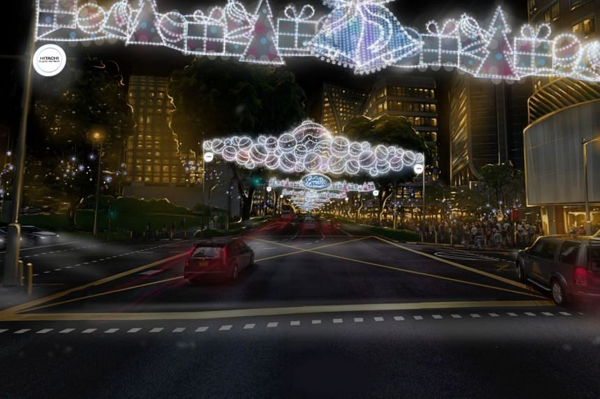 """Christmas lights along Orchard Road will be switched on three hours earlier at 3pm this year in a bid to give visitors a """"different experience"""" of seeing daytime lights against the greenery of the shopping belt."""