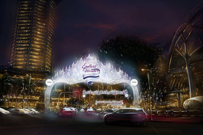 A rendered image of the 12m main arch that will be on display at Orchard Road during Christmas.