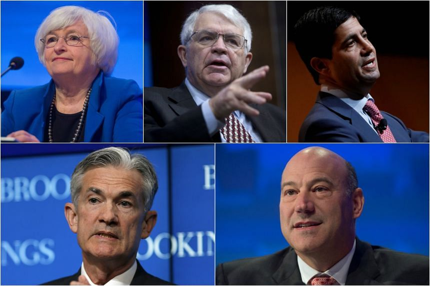 (Clockwise from top left) Current Fed chair Janet Yellen, Stanford University economist John Taylor, former Fed governor Kevin Warsh, Trump's senior economic advisor Gary Cohn, and Fed governor Jerome Powell.