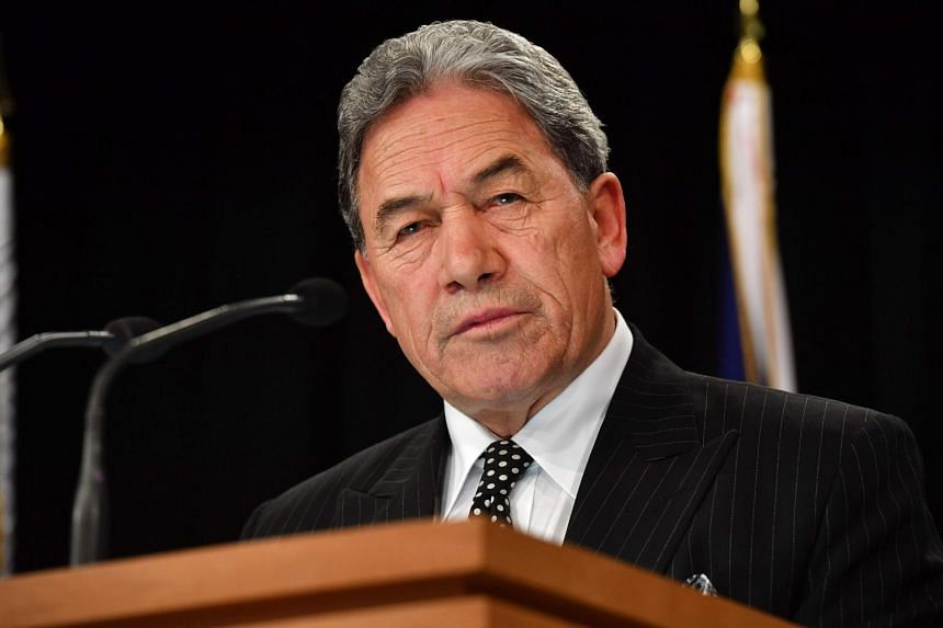 Leader of the NZ First party Winston Peters speaks at a press conference backing Jacinda Ardern as prime minister at Parliament in Wellington on Oct 19, 2017.