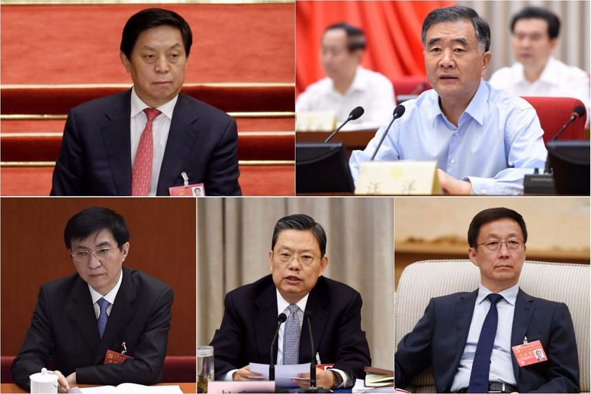 (Top row, from left) Mr Li Zhanshu and Mr Wang Yang. (Bottom row, from left) Mr Wang Huning, Mr Zhao Leji, Mr Han Zheng.