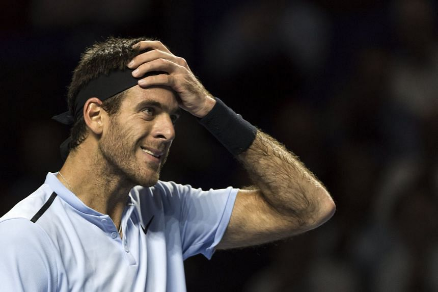 Del Potro reacts after winning his first-round match against Portugal's Joao Sousa.