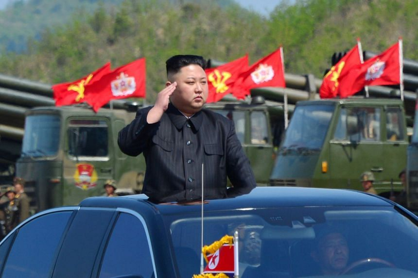 North Korean leader Kim Jong Un inspects artillery launchers ahead of a military drill in April 2017.