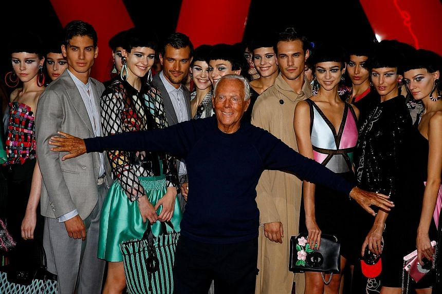 Italian designer Giorgio Armani (centre) at the spring/summer 2018 show at Milan Fashion Week last month.
