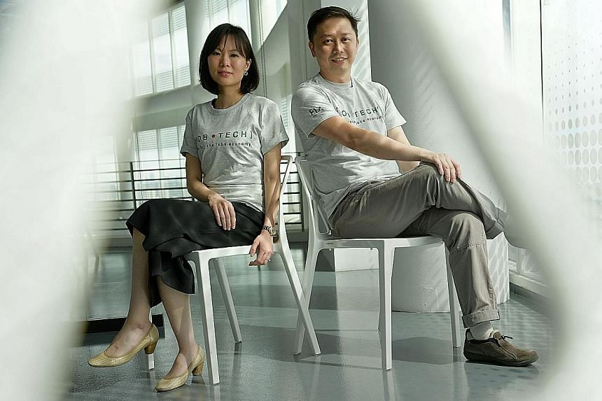 JobTech co-founders Charlotte Lim and Ang Wee Tiong. Ms Lim said a job portal, which she declined to name, had served JobTech a notice to refrain from using data from its website.