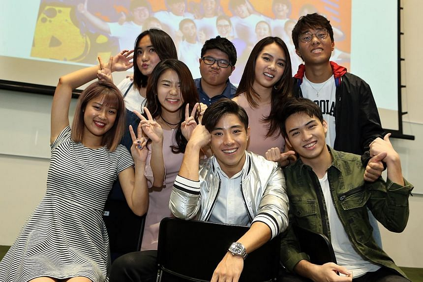 Rebecca Lim (right) gave advice to the younger cast (above) of While We Are Young, remembering her struggles with the language when she made her show-business debut.