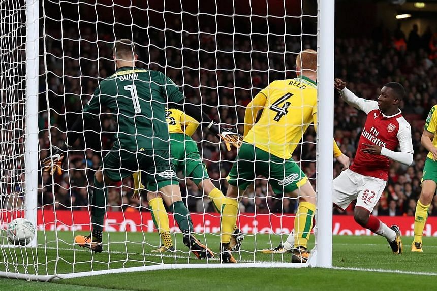 Arsenal forward Eddie Nketiah pouncing in the 85th minute to score the first of a brace against Norwich in their fourth-round League Cup tie at the Emirates. The 18-year-old super sub had just come on seconds earlier for his debut, with the Gunners t