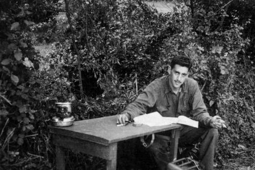 A photo taken of J.D. Salinger working on Catcher in the Rye.
