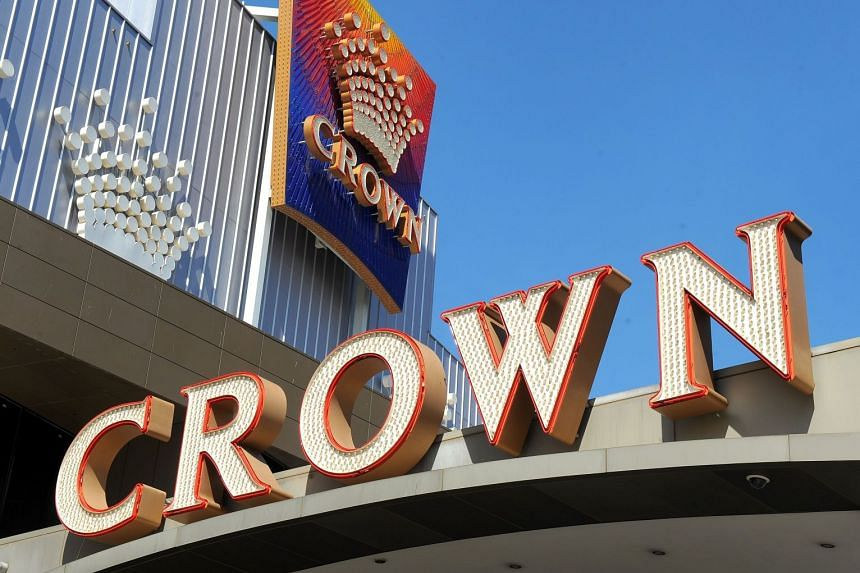 Crown Casino signs displayed at their casino in Melbourne.