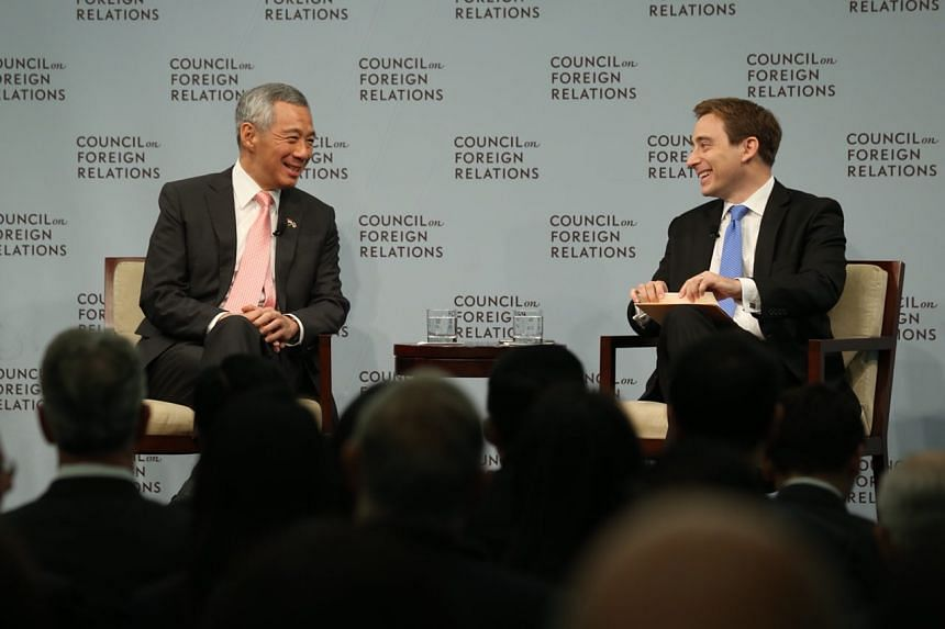PM Lee Hsien Loong speaking at the Council of Foreign Relations, with moderator Evan Osnos, on Oct 25, 2017.