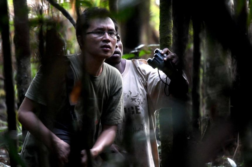 Charles Roring (left) and his worker searching for birds-of-paradise, known locally as cendrawasih birds, in Sorong's Malagufuk village on Aug 23, 2017.