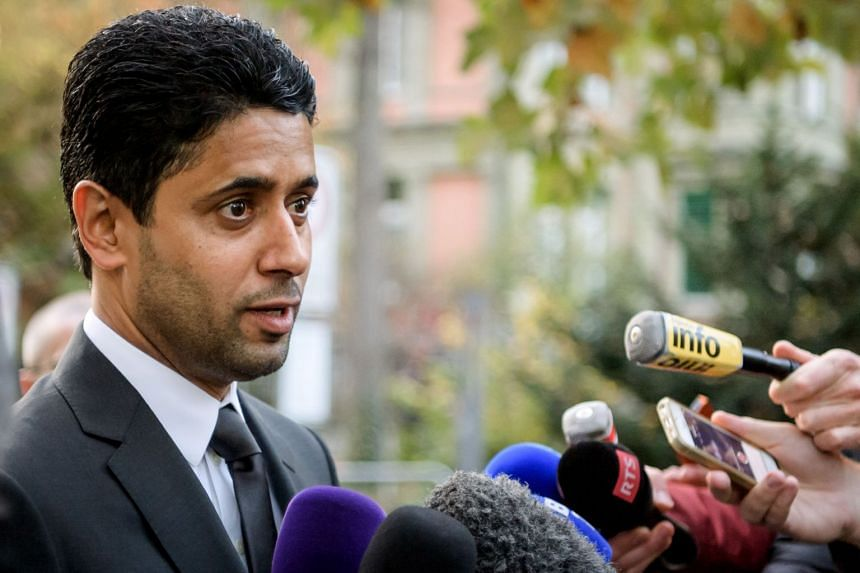 Paris Saint-Germain president and beIN Media chief Nasser al-Khelaifi speaks the press after his hearing.
