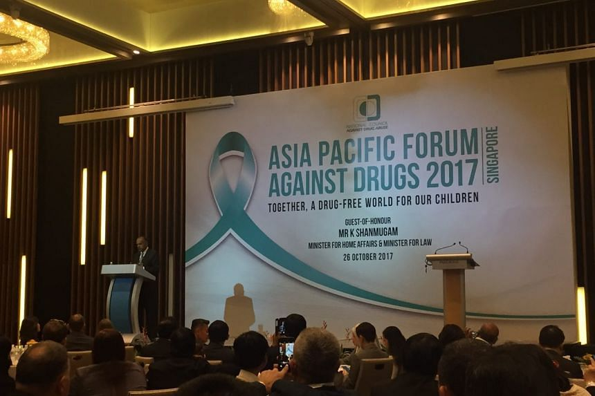Minister for Home Affairs and Law K. Shanmugam giving his opening address for the Asia Pacific Forum Against Drugs.