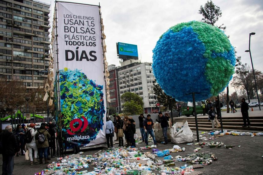 """View of a sphere made out of plastic bags that simulates the contaminated earth during the launching of the """"Zero Percent Plastic"""" ecological campaign to reduce the use of plastic bags in Chile."""