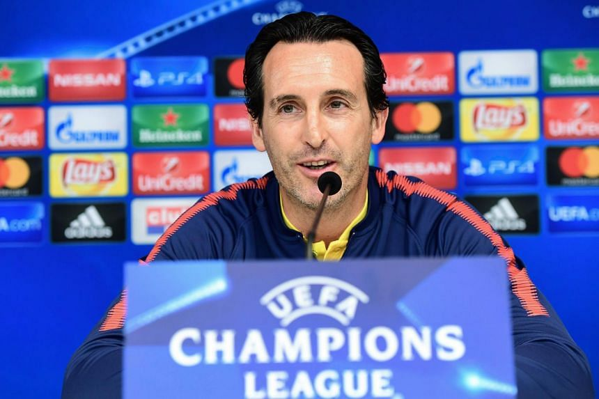 Paris Saint-Germain's Spanish head coach Unai Emery gives a press conference in Brussels.