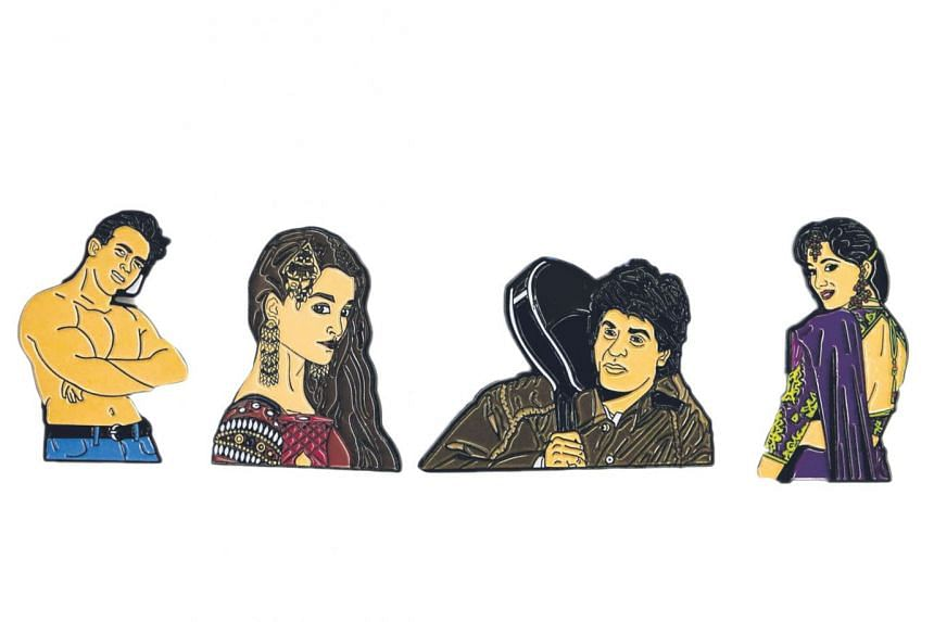 The Pinwallas' pins feature illustrations of Bollywood icons such as (from left) Salman Khan, Aishwarya Rai, Shah Rukh Khan and Madhuri Dixit.