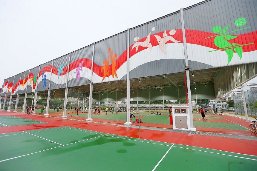 Above: Nee Soon South ward's hall is a covered basketball court which can hold up to 100 tables.