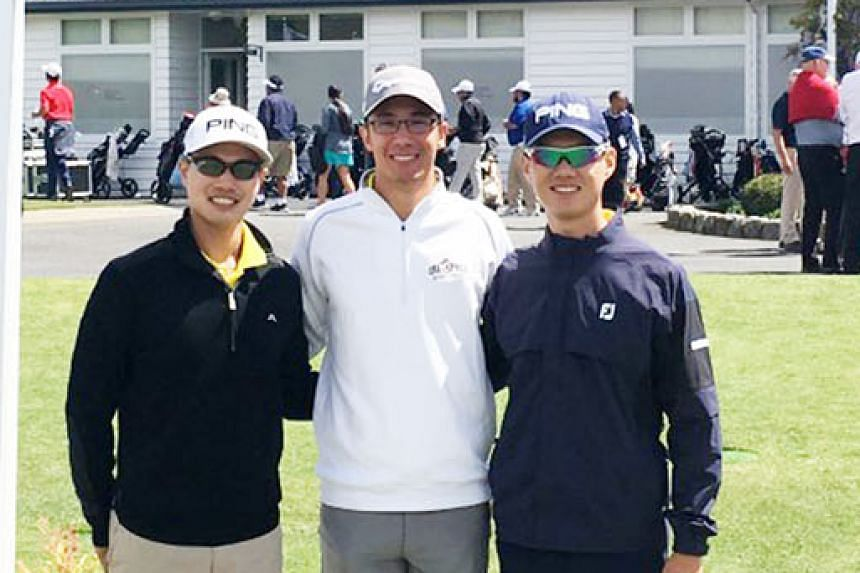 (From left) Gregory Foo, Jesse Yap and Joshua Ho at the Asia-Pacific Amateur Championship in New Zealand.