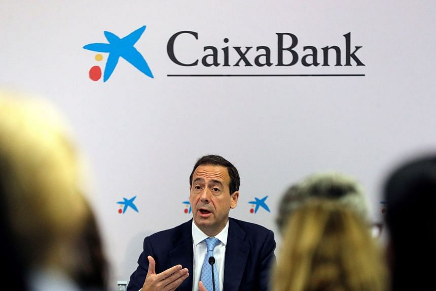 Caixabank CEO Gonzalo Cortazar speaks during the bank's third-quarter results briefing on Oct 24, 2017.