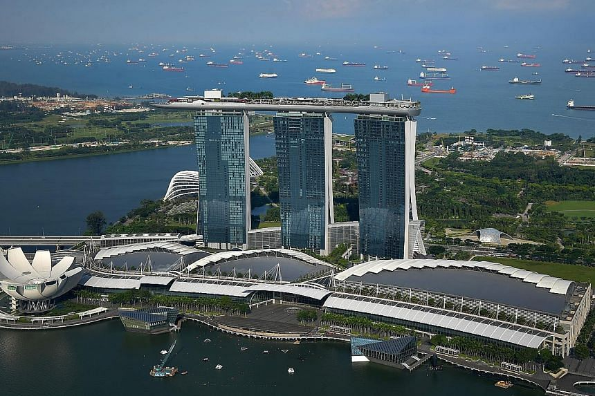 Total gaming revenues at Marina Bay Sands resort rose 6.3 per cent to US$629 million. Non-gaming segments mostly fell for the quarter.