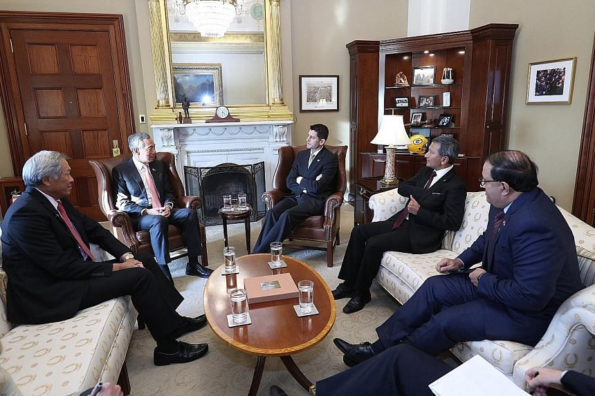 Prime Minister Lee Hsien Loong meeting US House Speaker Paul Ryan in Washington on Wednesday. Also present were (from left) Defence Minister Ng Eng Hen, Foreign Minister Vivian Balakrishnan and Minister for Trade and Industry (Industry) S. Iswaran.