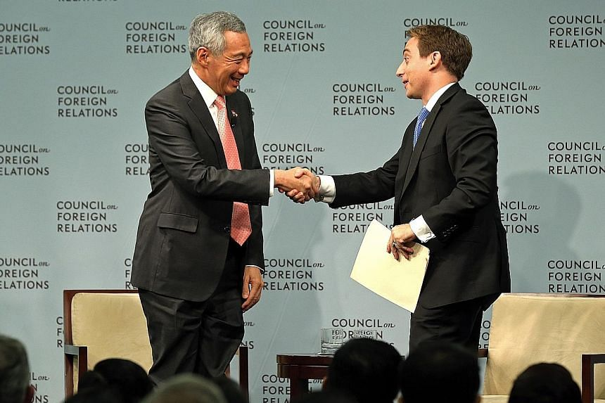 Prime Minister Lee Hsien Loong at the dialogue at the Council on Foreign Relations in Washington on Wednesday, which was moderated by New Yorker magazine's staff writer Evan Osnos.