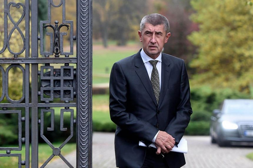 Billionaire Andrej Babis, whose populist ANO movement won the Czech general election,  arrives to talk to journalists at the Lany Castle in the village of Lany, west of Prague on Oct 23, 2017.