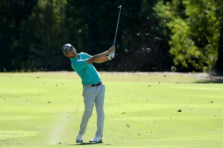 Andrew Landry plays his second shot on the 17th hole during the First Round of the Sanderson Farms Championship at the Country Club of Jackson on Oct 26, 2017.