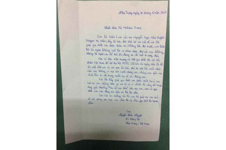 The handwritten letter, posted on Facebook on Thursday (Oct 26), drew attention to Vietnam's biggest crackdown on dissidents in years before the Asia-Pacific Economic Cooperation (Apec) summit in November.